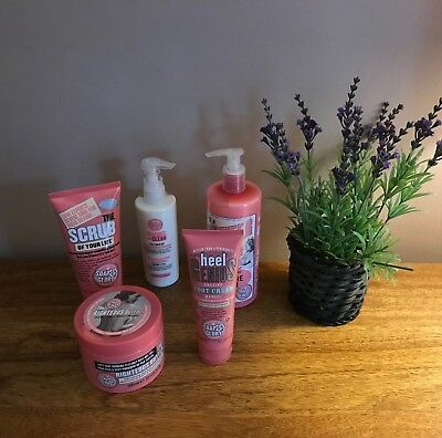 Bn Soap & Glory Gift Set,butter,lotion,peaches And Clean,scrub,foot Cream