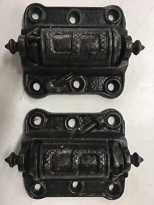 Two Antique Working Cast Iron Screen Door Hinges by Stover