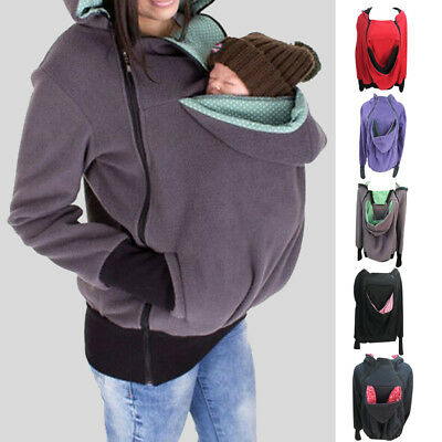 Winter Women Baby Carrier Jacket Kangaroo Hoodie Pregnant Maternity Outerwear