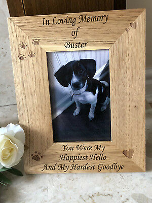 Personalised Pet Memorial Wooden Photo Frame - Dog Cat Pawprint - Any Message
