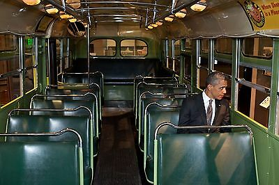 Barack Obama In Rosa Park Bus 8X10 Glossy Photo Picture