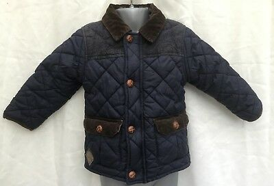 Next Baby Boys Blue Quilted Padded Cord Trimmed Coat Jacket - Age 18-24 Months