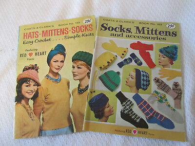 2 Vtg. Coats & Clark Socks Mittens Gloves Hats Caps Crochet Knitting  Booklets