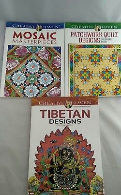 Mixed Nice LOT OF 3 THREE CREATIVE HAVEN COLORING BOOKS Like New