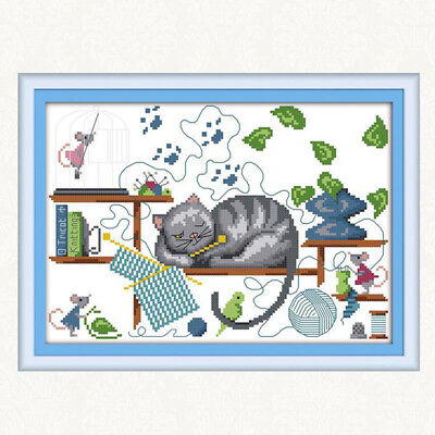 Sleeping Cat Stamped Cross Stitch Kit Chart Pattern Needlecaft for Beginners