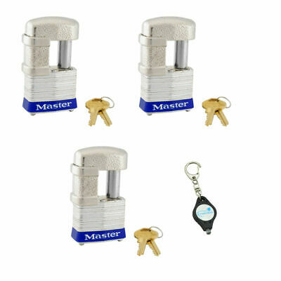 Master Lock 37KA Key Alike Multipurpose Padlock - 3 Pack + Keychain Light
