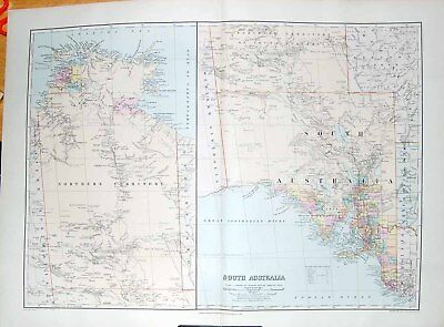 Original Old Antique Print Stanford Map 1904 South Australia Kangaroo Fowler