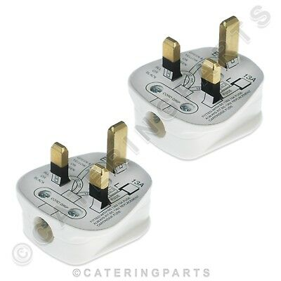 3 Pin Mains Plugs Pack Of 2 Uk White Rewireable Head Top Power 13A 13 Amp Fused