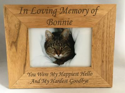 Personalised Pet Memorial Wooden Photo Frame - In Loving Memory Cat Dog Horse
