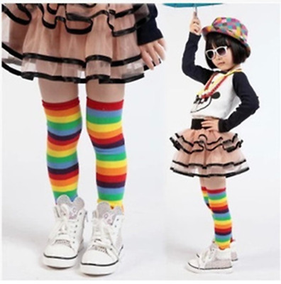 730A Baby Toddler Kids Girl Winter Leg Warmer Cotton Cute Rainbow Stripes Socks