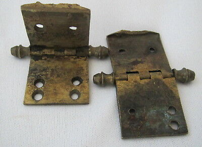 2 Antique brass hinges for a long case clock door