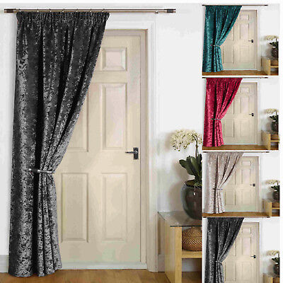 """Rajpur"" Thermal Door Self Lined Winter Curtain Crush VELVET Energy Saving"