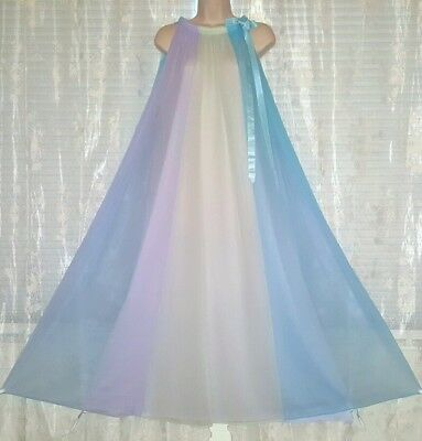 Vtg Kayser Rainbow Double Layer Nightgown Gown Negligee M Purple Blue Yellow