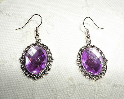 Victorian Style Lilac Purple Acrylic Filigree Dk Silver Plated Earrings Snv