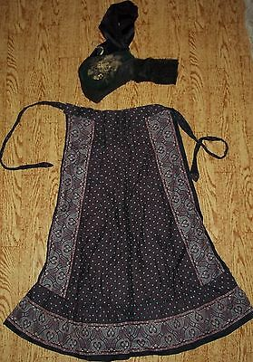 Tracht-Schürze-Halbe Apron + Hood with Embroidery + Bands