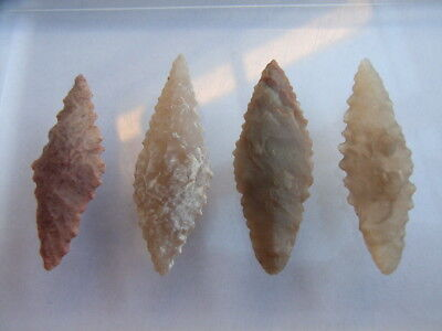 4 Ancient Neolithic Flint Arrowheads, Stone Age, VERY RARE !!
