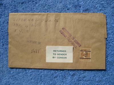 "Vtg. Envelope Censored Returned to Sender New York WWII Era ""Addressed to Enemy"""