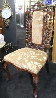 Fine 19th c. Carved Rosewood Upholstered Occasional Chair