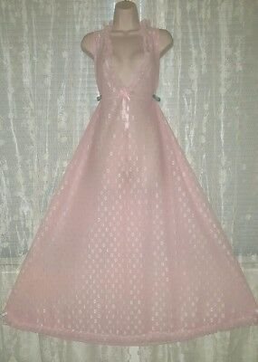 Vtg Pink Print Double Layer Sheer Chiffon Nightgown Gown Negligee M