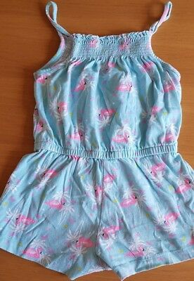 girls green pink short jumpsuit straps pelicans aged 5-6 years imm con