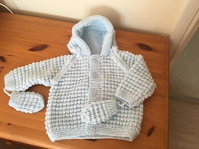 6-12 months blue hoodie with mittens