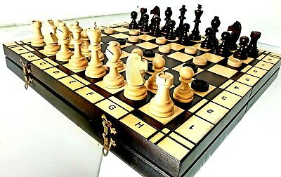 """High Quality TOURNAMENT No.7 Chess and Draughts Wooden Chess Set 54 x 54cm (19"""")"""