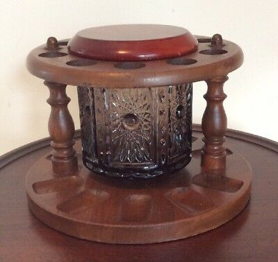 Vintage Walnut Wooden Pipe Stand w/ Pressed Glass Jar Humidor Holds 10 Pipes
