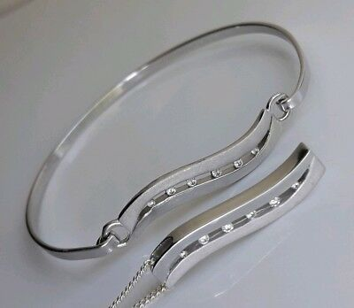 Set Lot Signed Solid Sterling Silver Bangle Pendant Chain Cubic Zirconia Stones