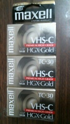 3 Maxell HGX-Gold TC-30 VHS-C Premium High Grade Video Cassette Tapes New Sealed