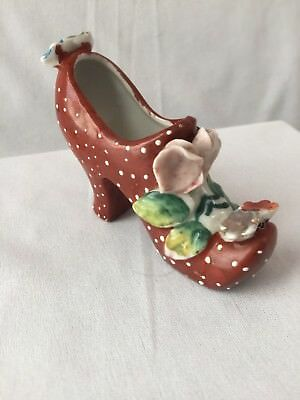 Vintage Handpainted Porcelain Collectible ladies miniature Shoe Made In Canada