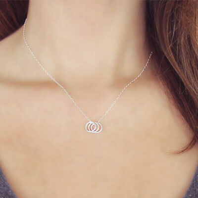 Chic Three Circle Rings Snake Bones Short Necklaces Clavicle Chain Jewellery 8C