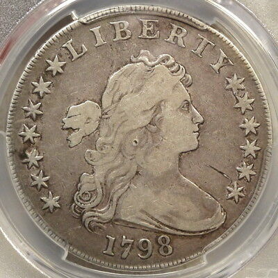 1798 Draped Bust Dollar, Large Eagle, 13 Stars, Choice Fine+, PCGS F-15 Cert