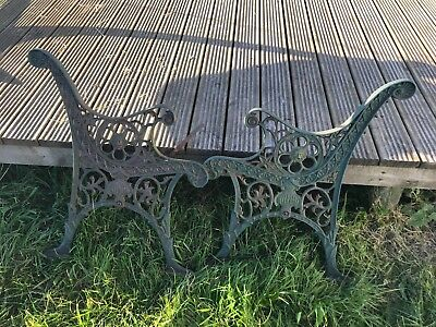 Vintage Victorianwrought iron bench ends with details & bolts for slats