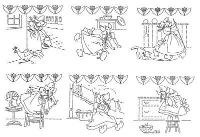 Dutch Girls 124 Hand Embroidery Transfer for Kitchen dish towels Potholders