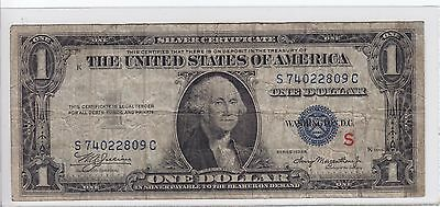 """United States 1935-A $1 Silver Certificate Experimental """"S"""" Note VG S74022809C"""