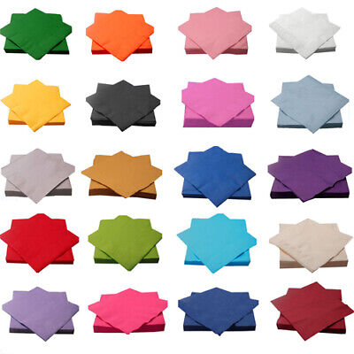 """10x10"""" / 13x13"""" 2-ply Disposable Beverage Cocktail Assorted Solid Color Napkins"""