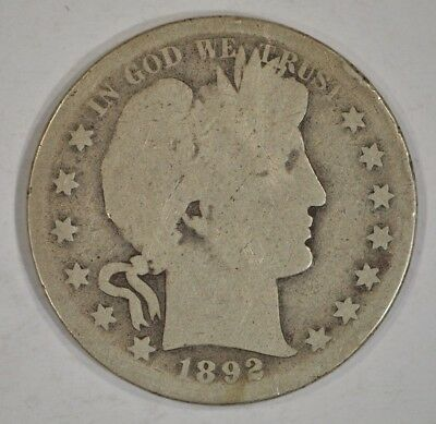 United States 1892-S Barber Silver Half Dollar 50c AG About Good Details #3