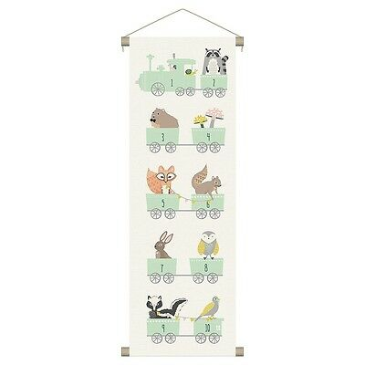 Wall Banner Woodland Animals Number Train Nursery Child Whimsical 12x36