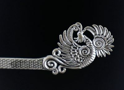 Collectable Tibet Silver Carve Myth Animal Phenix Noble China Style Girl Hairpin