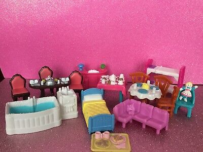FISHER PRICE Sweet Streets Furniture Lot Tables Chairs Bathtub