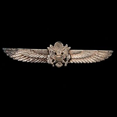 WWII US Army Sterling Silver Sweetheart Pilot Wings Badge