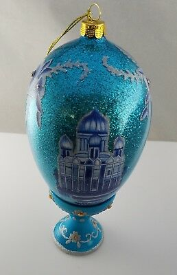 New Joan Rivers 2010 Ice Palace - Russian Inspired Egg Ornament with Stand & Box