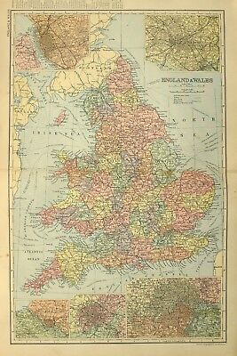1895 Antique Map England & Wales Birmingham London York Manchester Derby Essex