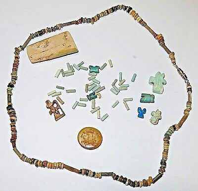 Ancient Egyptian Artifacts Faience Necklace Beads Roman Intaglio Horus Egypt OLD