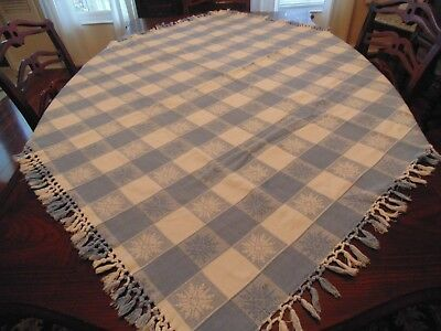 Gorgeous blue and white snowflake tablecloth,hand loomed in India