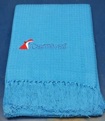 Carnival Cruise Line Throw Blanket Blue Cotton Waffle Knit Embroidered