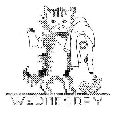 Kittens Days of the Week 113 Hand Embroidery Transfer for Kitchen dish towels