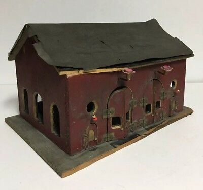 Vintage Antique Hand Made Wooden House, Church, Christmas Tree Train Building