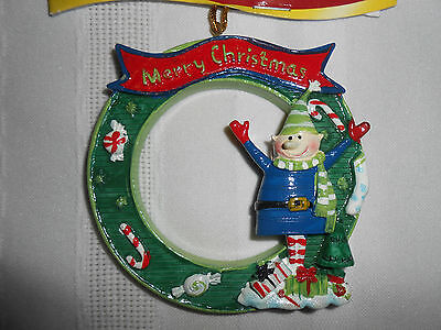Merry Christmas Elf Wreath Christmas Tree Ornament