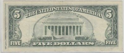 Offset Printing Error $5 Partial Front To Back 1977 Federal Reserve Note